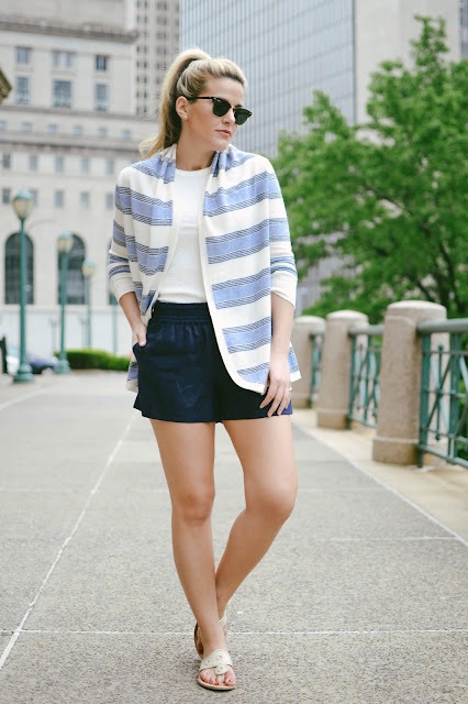 Summer Wind: Comfortable Navy + White Outfit ft. Linen Shorts