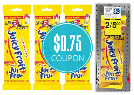 photo about Gum Coupons Printable titled Clipping Chix: Ceremony Guidance: Juicy Fruit Gum 3 Pack $0.75/1