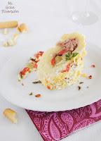 Rollo de patatas relleno de atún y pimientos