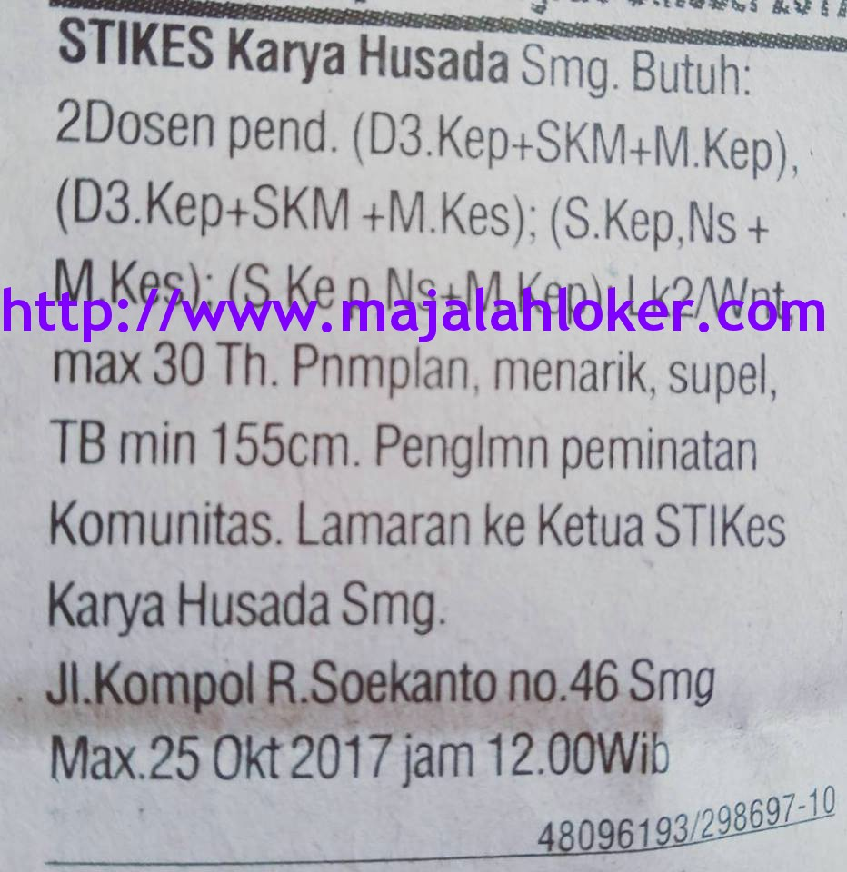 Lowongan Dosen STIKES Karya Husada Semarang