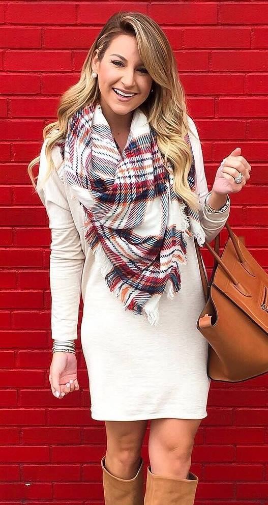 how to style a plaid scarf : bag + white dress + over knee boots