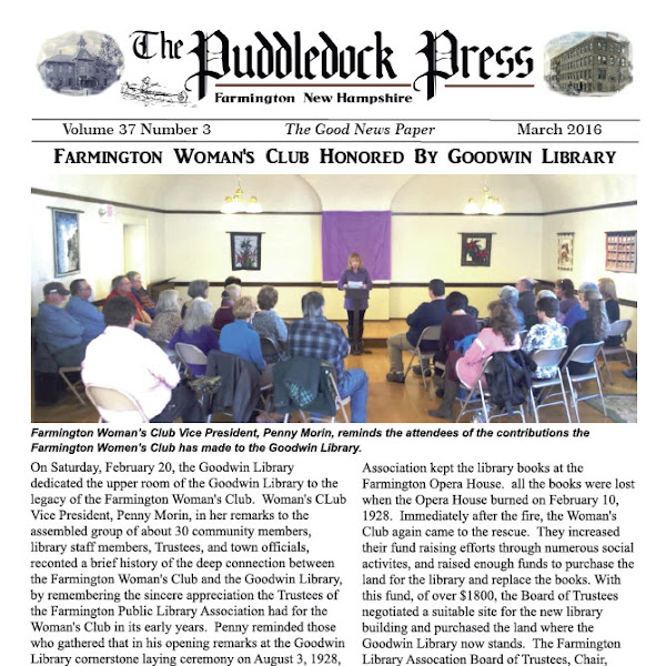 The March 2016 issue of the Puddledock Press is Available