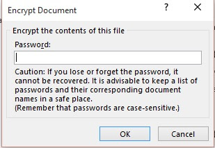 enter password encrypt document