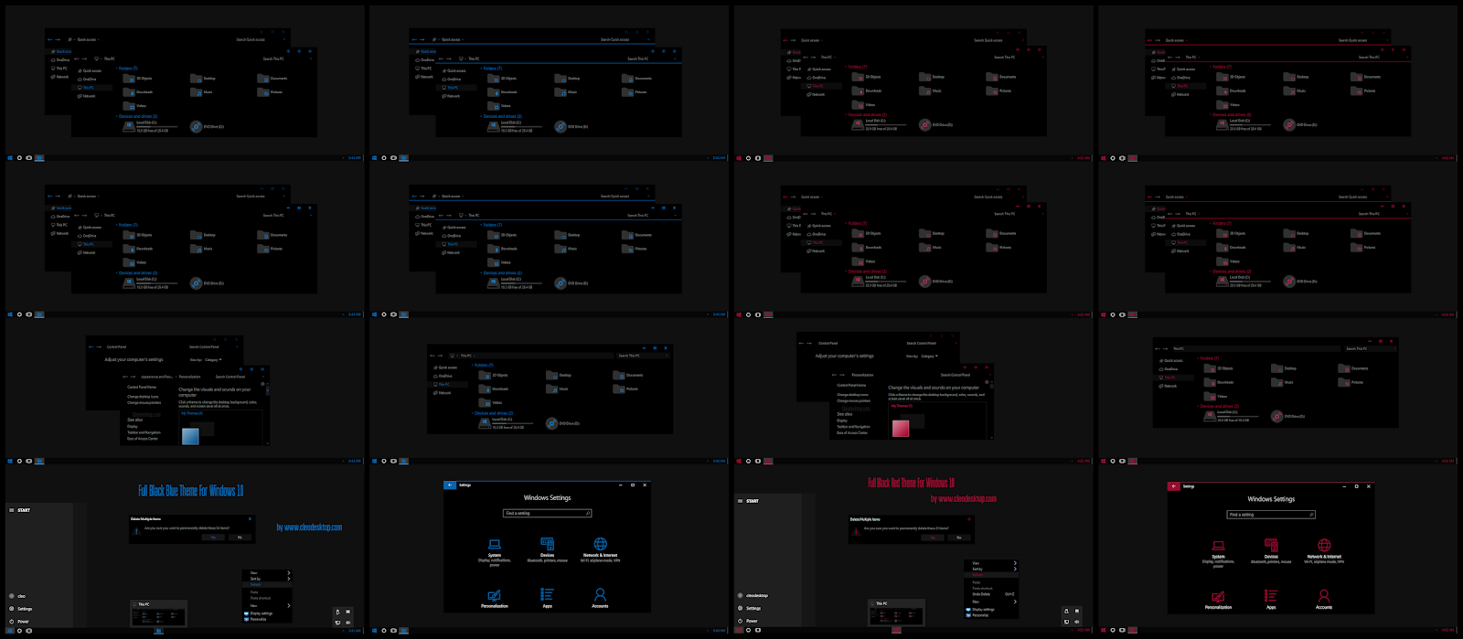 Full Black Blue and Red ComboPack Theme Windows 10 1909
