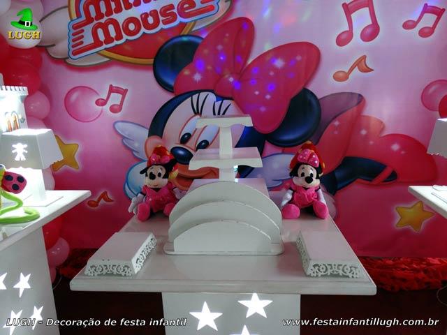 Decoração de aniversário Minnie com vestido rosa - Festa infantil