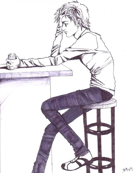 Alone sadness boy drawing