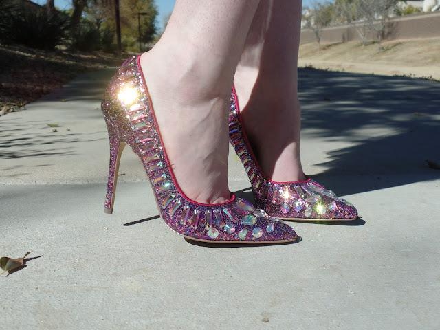 glitter and rhinestone pink pumps