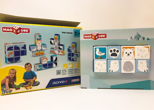 The Magicube Polar Animals set out of the outer box and showing the internal packaging