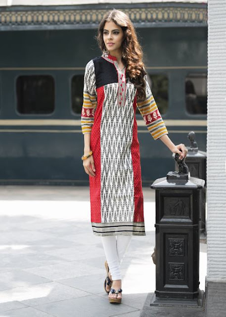Summer Red And White Cotton Printed Printed Kurti
