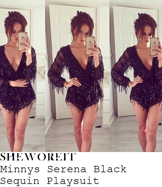 pascal-craymer-black-sequin-fringe-embellished-long-sheer-sleeve-plunge-front-playsuit
