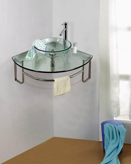floating corner sink for bathroom glass top countertop
