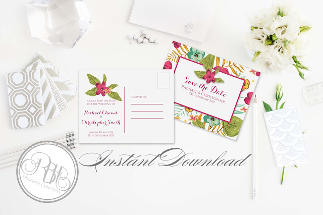 tropical watercolour save the date postcard pink hibiscus-island wedding-by rbh designer concepts
