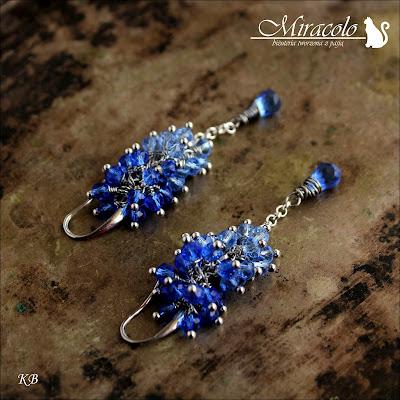 Miracolo, Blue quartz earrings, kwarc szmaragdowy, kolczyki z kwarcem szmaragdowym