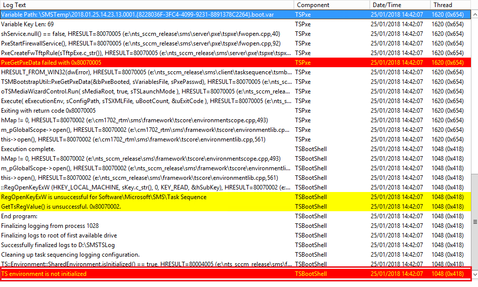 Clint Boessen's Blog: SCCM - TS environment is not initialized