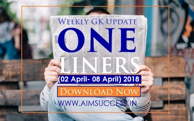 Weekly Current Affairs One Liners (19 March - 25 March) 2018 Download Now