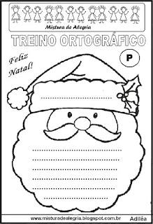 Treino ortográfico símbolos do natal Papai Noel