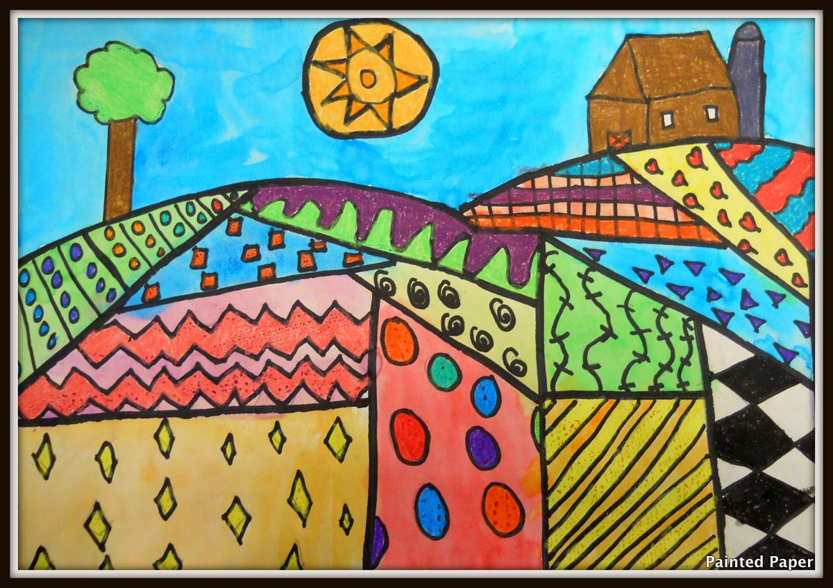 Painted Paper Folk Art Landscapes