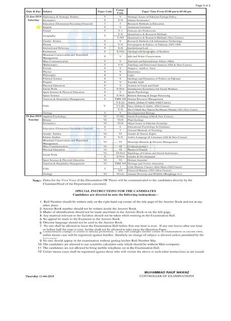 ma english punjab university anuual 2019 exams date sheet,punjab university date sheet 2019,ma english part.1 pu annual 2019 date sheet