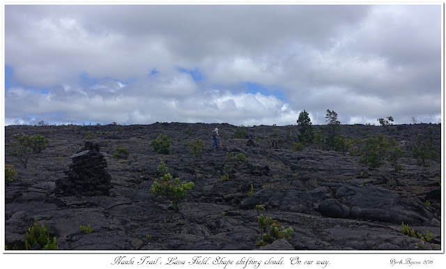 Naulu Trail: Lava Field. Shape shifting clouds. On our way.