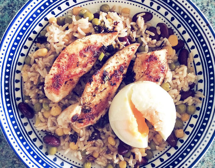 Jerk Chicken, Mixed vegetable rice & poached egg meal prep, protein carbs workout weight training gym recipe