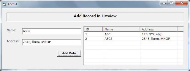 Image of Add Items In ListView Form