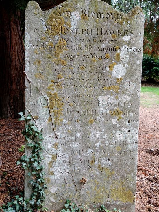 The fifth tombstone in Dorothy Colville's article photographed in August 2018  Image by the North Mymms History Project, released under Creative Commons BY-NC-SA 4.0
