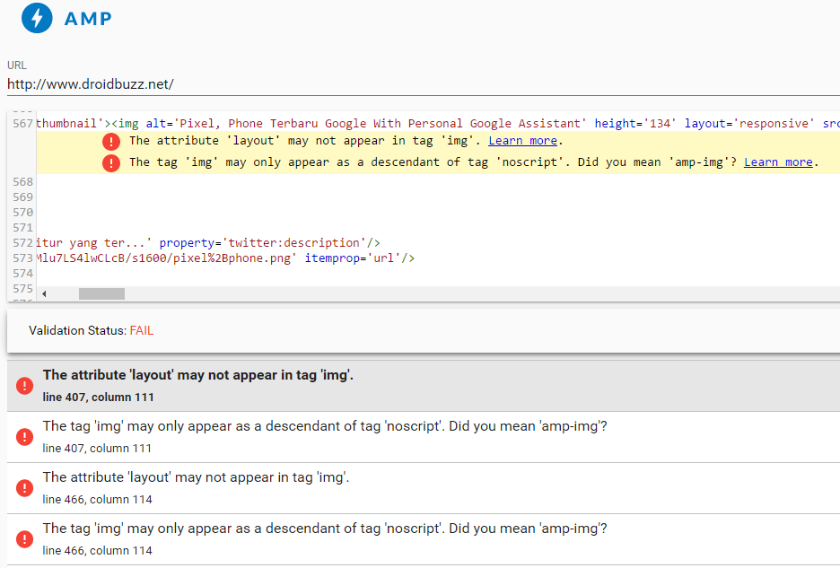 Mengecek Validasi AMP HTML Menggunakan Ekstensi Chrome