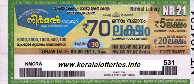 Kerala Weekly lottery Nirmal (NR-21)
