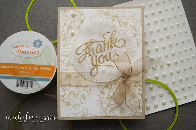 The gorgeous Bloom Burst Stamp created the background on this monochromatic handmade Thank you card.  Using Fun Stampers Journey products.
