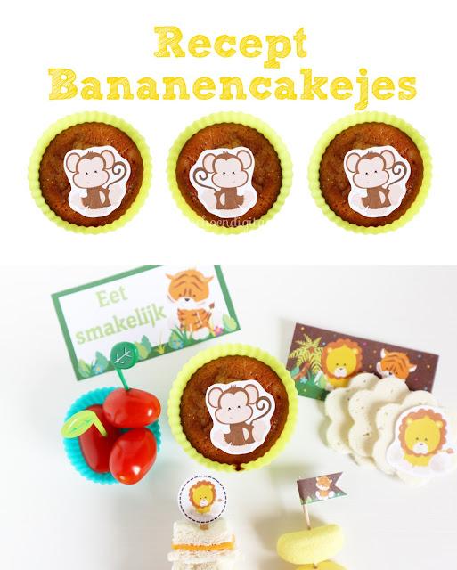 recept voor bananencakejes, gezonde cakejes met banaan, bento cake, cake voor in de broodtrommel, wat neem je mee voor gezond 10-uurtje, jungle printables, bento maken