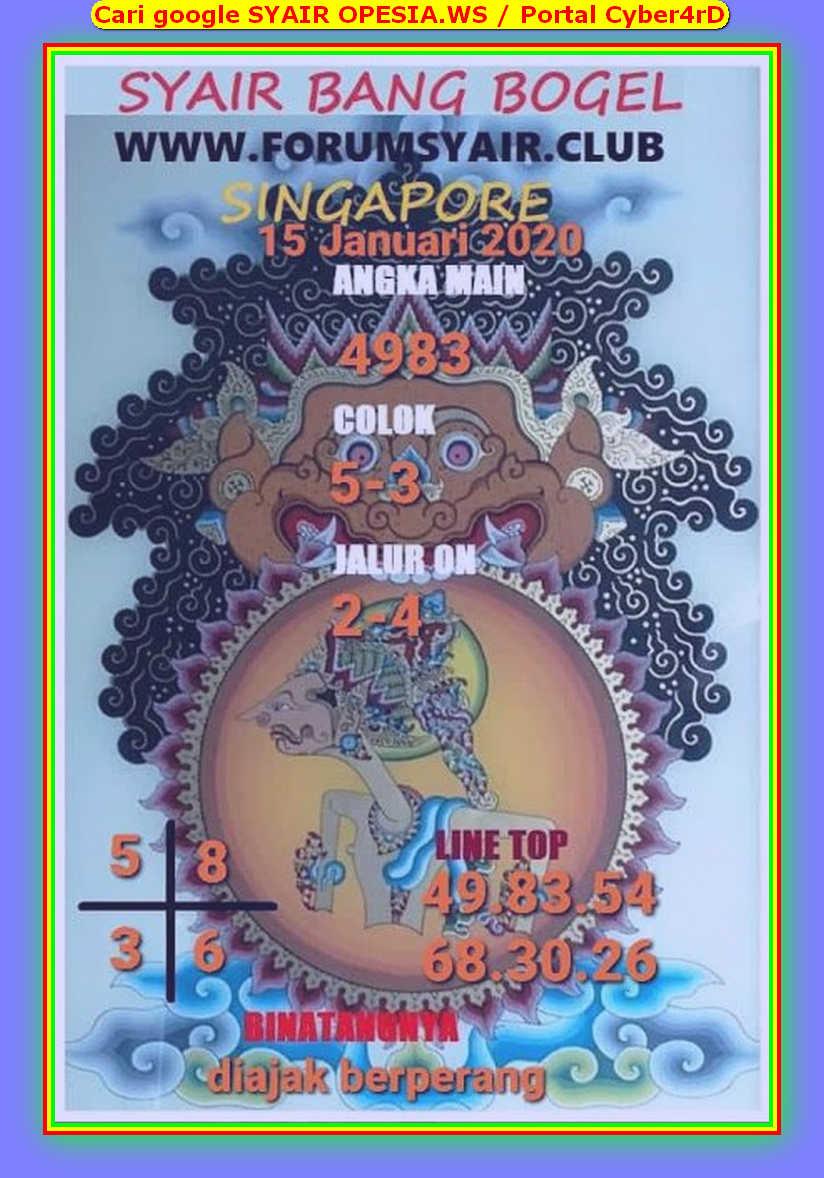 Kode syair Singapore Rabu 15 Januari 2020 146
