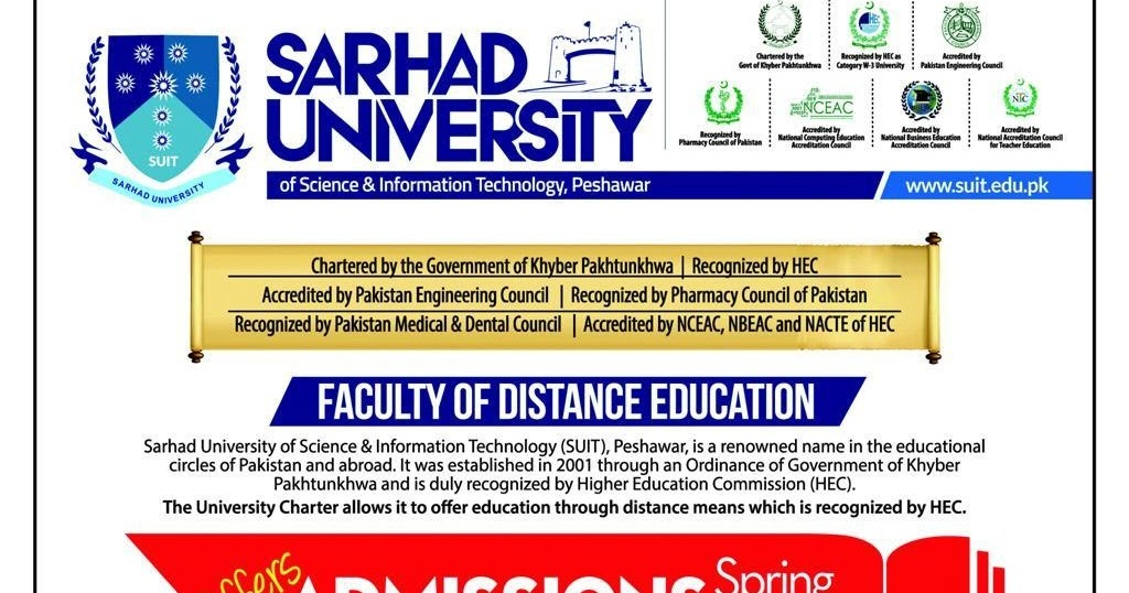 Sarhad University Offers Admissions Spring 2018 Computer Zila