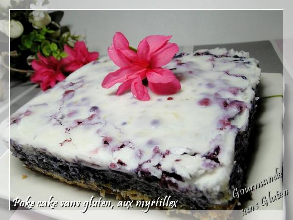 Poke cake myrtilles citron coco, sans gluten et sans lactose