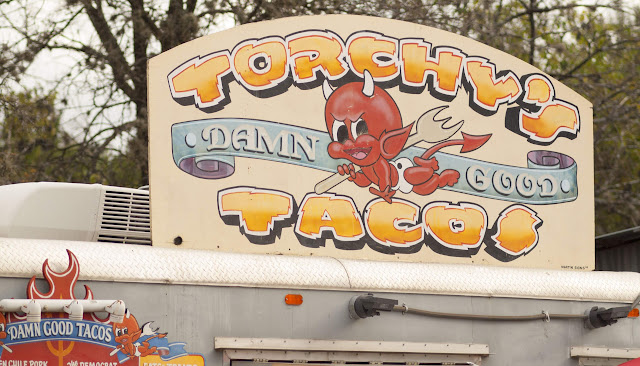 Torchy's Tacos sign at the Food Truck Trailer Park in Austin, Texas