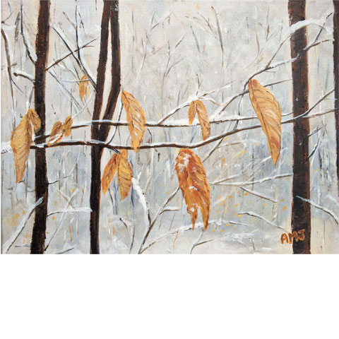 "Winter leaves- 5""x7"" Art Card"