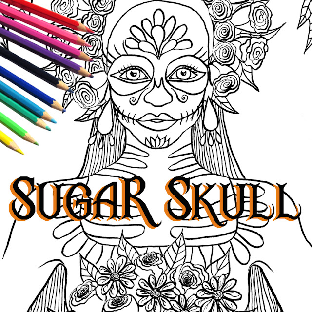 Sugar skull coloring page. Inktober 2016 begins! Inktober is an art challenge running every October. The rules are simple: make a drawing in ink, post it online and hashtag with #inktober and #inktober2016 and repeat.