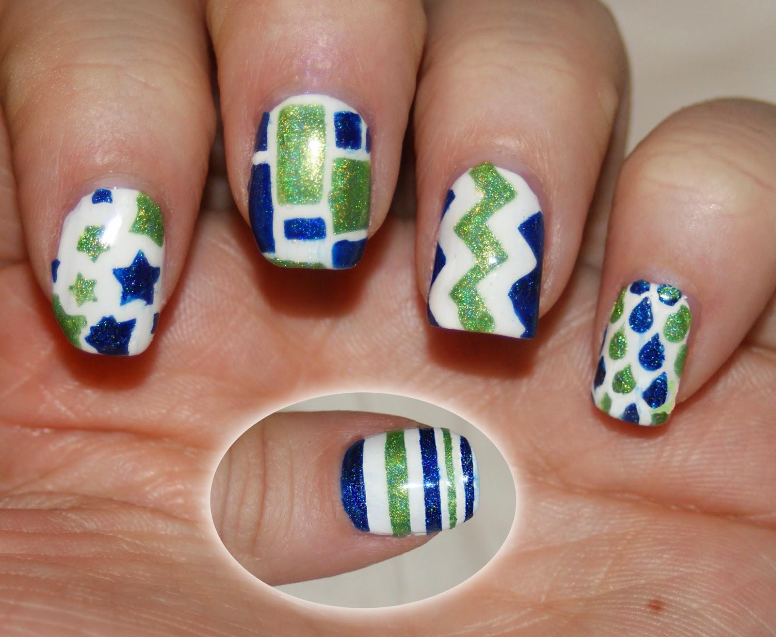 Princess Polish Seahawks Blue And Green Nail Art