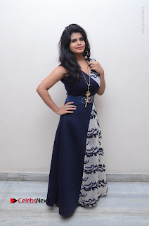 Telugu Actress Alekhya Stills in Blue Long Dress at Plus One ( 1) Audio Launch  0142.jpg