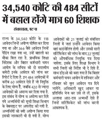 Bihar 34540 Teachers Koti ki 484 seats news