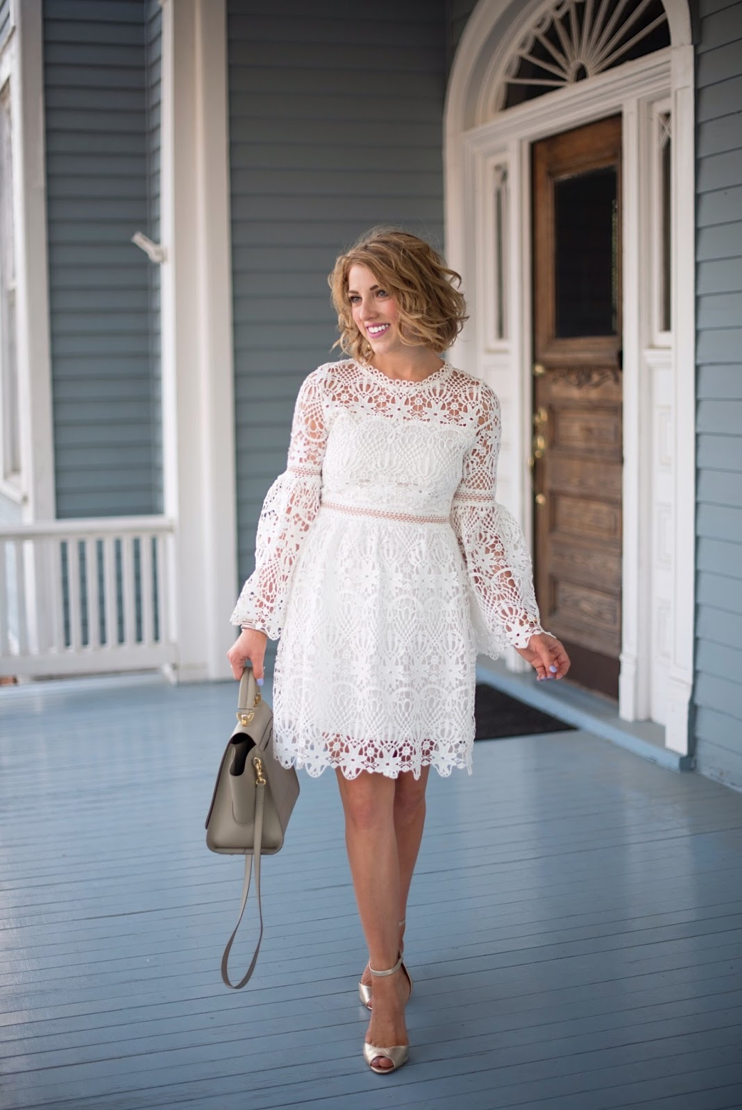 White Lace Dress - Click through to see more on Something Delightful Blog!