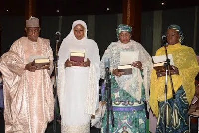 Aisha Jummai Alhassan with other ministers taking the oath of Office during their swear-in ceremony recently.