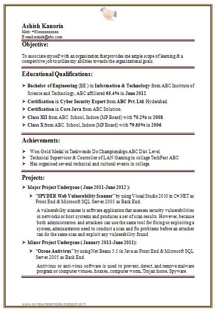 sas resume sample for fresher
