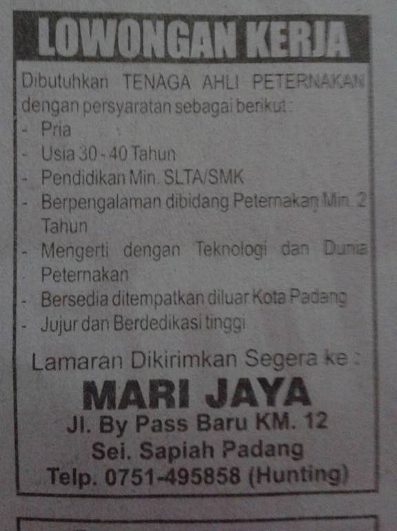 Lowongan Kerja di Padang – Mari Jaya – Tenaga Peternakan (Januari 2017)