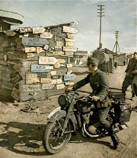 German motorcyclist Color Photos World War II worldwartwo.filminspector.com
