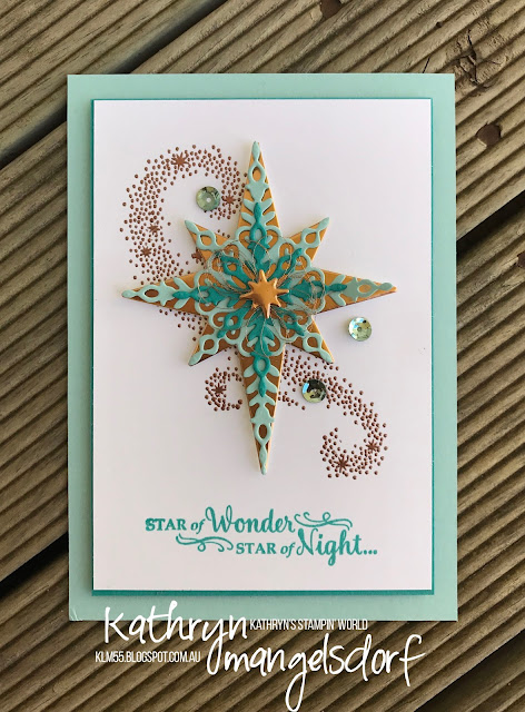 Stampin' Up! Star of Light, Starlight Thinlits Dies, On Stage 2016 Swap, On Stage Live Brisbane, Christmas Card, created by Kathryn Mangelsdorf