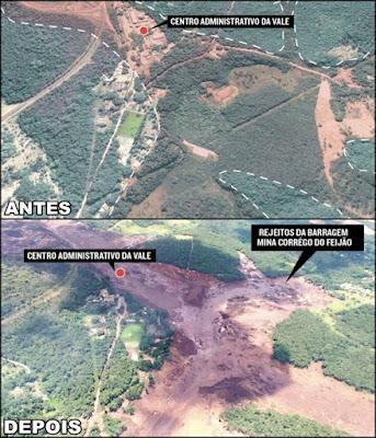 antes e depois da barragem de brumadinho