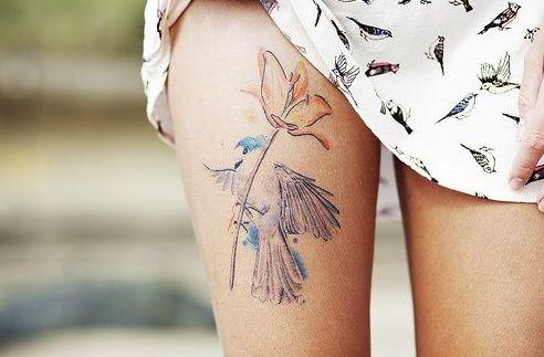 Pássaro e rosa.