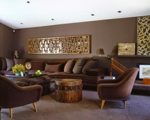 decoración sala marrón