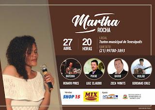 Show Martha Rocha e Banda no teatro de Teresópolis