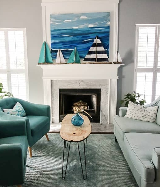 Simple DIY Coastal Fireplace Mantel Decorating Ideas